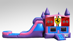 Ferrari Pink and Purple Bounce House Combo w/Single Lane Water Slide