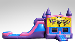 Lego Batman Pink and Purple Bounce House Combo w/Single Lane Water Slide