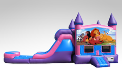 Lion King Pink and Purple Bounce House Combo w/Single Lane Water Slide