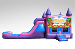 Luau Party Pink and Purple Bounce House Combo w/Single Lane Water Slide