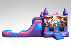 Alice in Wonderland Pink and Purple Bounce House Combo w/Single Lane Water Slide