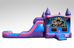 Black Panther Pink and Purple Bounce House Combo w/Single Lane Water Slide