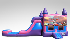 Cars Pink and Purple Bounce House Combo w/Single Lane Water Slide
