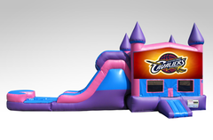Cavaliers Pink and Purple Bounce House Combo w/Single Lane Water Slide