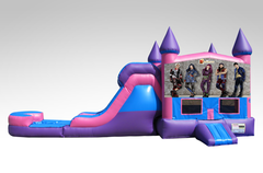 Disney Descendants Pink and Purple Bounce House Combo w/Single Lane Water Slide
