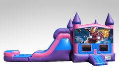 Iron man Pink and Purple Bounce House Combo w/Single Lane Water Slide