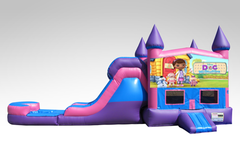 Doc McStuffins Pink and Purple Bounce House Combo w/Single Lane Water Slide