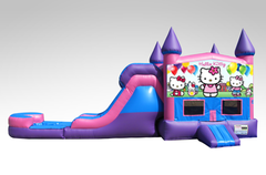 Hello Kitty Pink and Purple Bounce House Combo w/Single Lane Water Slide