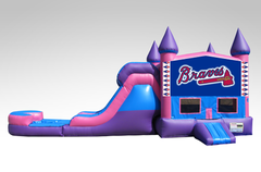 Atlanta Braves Pink and Purple Bounce House Combo w/Single Lane Water Slide