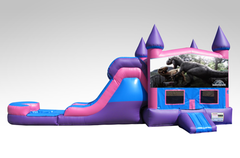 Jurassic World Pink and Purple Bounce House Combo w/Single Lane Water Slide