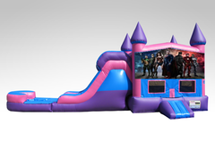 Justice League Pink and Purple Bounce House Combo w/Single Lane Water Slide