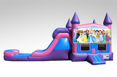 Disney Princess Pink and Purple Bounce House Combo w/Single Lane Water Slide
