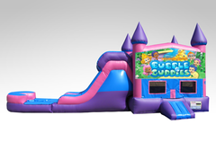 Bubble Guppies Pink and Purple Bounce House Combo w/Single Lane Water Slide