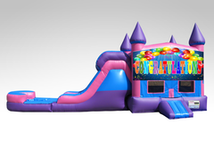 Congratulations Pink and Purple Bounce House Combo w/Single Lane Water Slide
