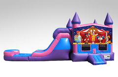 Carnival Pink and Purple Bounce House Combo w/Single Lane Water Slide