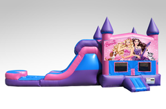 Barbie Pink and Purple Bounce House Combo w/Single Lane Water Slide