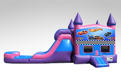 Hot Wheels Pink and Purple Bounce House Combo w/Single Lane Water Slide
