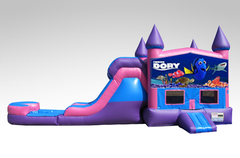 Finding Dory Pink and Purple Bounce House Combo w/Single Lane Water Slide