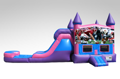 Alabama v. Auburn Pink and Purple Bounce House Combo w/Single Lane Water Slide
