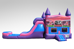 Alabama Pink and Purple Bounce House Combo w/Single Lane Water Slide