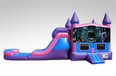 Batman Pink and Purple Bounce House Combo w/Single Lane Water Slide