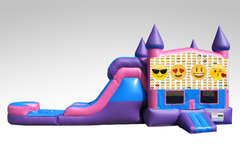 Emojis Pink and Purple Bounce House Combo w/Single Lane Water Slide