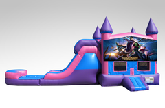 Guardians of the Galaxy Pink and Purple Bounce House Combo w/Single Lane Water Slide