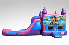 Moana Pink and Purple Bounce House Combo w/Single Lane Water Slide