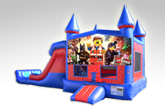 Lego Movie Red and Blue Bounce House Combo w/Dual Lane Dry Slide