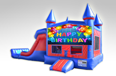 Happy Birthday Red and Blue Bounce House Combo w/Dual Lane Dry Slide