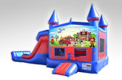 Fireman Red and Blue Bounce House Combo w/Dual Lane Dry Slide