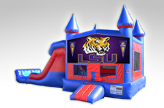 LSU Red and Blue Bounce House Combo w/Dual Lane Dry Slide