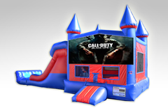 Call of Duty Red and Blue Bounce House Combo w/Dual Lane Dry Slide