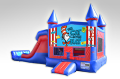 Cat in the Hat Red and Blue Bounce House Combo w/Dual Lane Dry Slide
