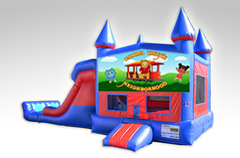 Daniel Tiger Red and Blue Bounce House Combo w/Dual Lane Dry Slide