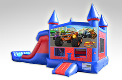 Blaze Red and Blue Bounce House Combo w/Dual Lane Dry Slide