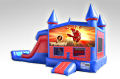 Flash Red and Blue Bounce House Combo w/Dual Lane Dry Slide