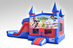 Disney Fairies Red and Blue Bounce House Combo w/Dual Lane Dry Slide