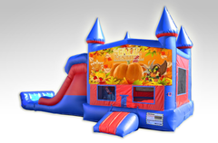 Happy Thanksgiving Red and Blue Bounce House Combo w/Dual Lane Dry Slide