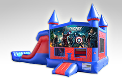 Avengers Red and Blue Bounce House Combo w/Dual Lane Dry Slide