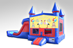 Baby Shower Red and Blue Bounce House Combo w/Dual Lane Dry Slide