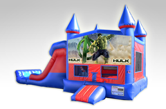 Hulk Red and Blue Bounce House Combo w/Dual Lane Dry Slide