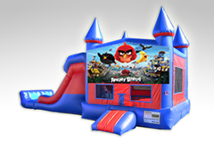 Angry Birds Red and Blue Bounce House Combo w/Dual Lane Dry Slide