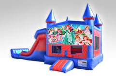 Little Mermaid Red and Blue Bounce House Combo w/Dual Lane Dry Slide