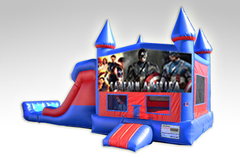 Captain America Red and Blue Bounce House Combo w/Dual Lane Dry Slide