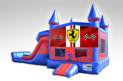 Ferrari Red and Blue Bounce House Combo w/Dual Lane Dry Slide