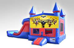 Lego Batman Red and Blue Bounce House Combo w/Dual Lane Dry Slide