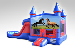 Horses Red and Blue Bounce House Combo w/Dual Lane Dry Slide