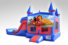 Lion King Red and Blue Bounce House Combo w/Dual Lane Dry Slide
