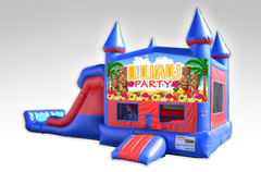 Luau Party Red and Blue Bounce House Combo w/Dual Lane Dry Slide